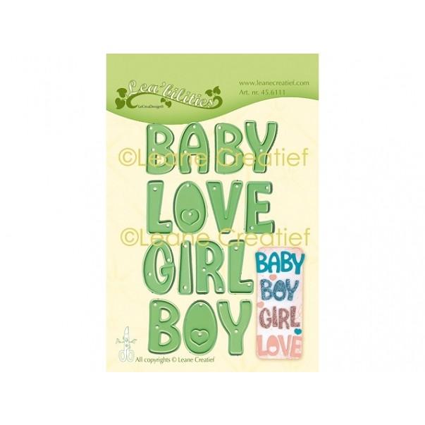 Rezalna šablona, Besede Baby, Boy, Girl, Love