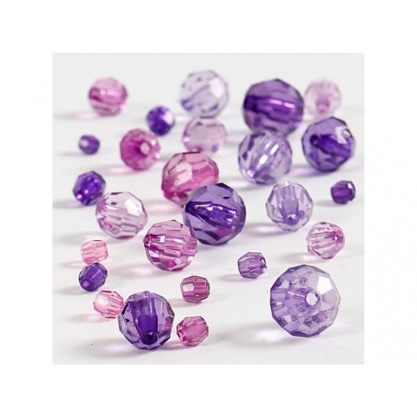 Perle, fasetirane, vijolični mix