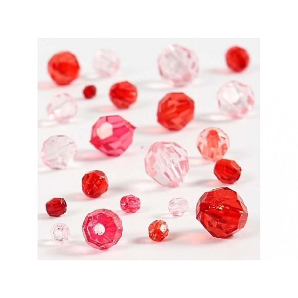 Perle, fasetirane, rdeči mix