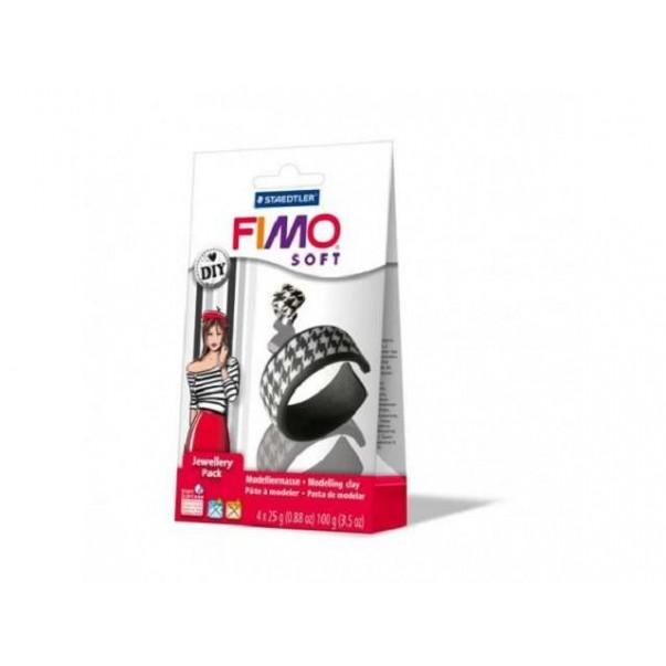 Fimo soft, DIY set, črno - bel, 4 x 25 g