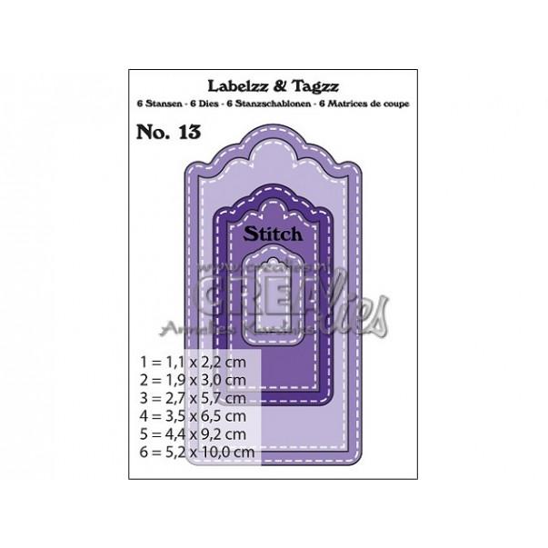 Rezalna šablona, Labelzz & Tagzz št. 13, With stitch line