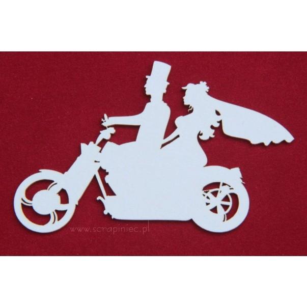 Izrezek,chipboard, poročni par na motorju