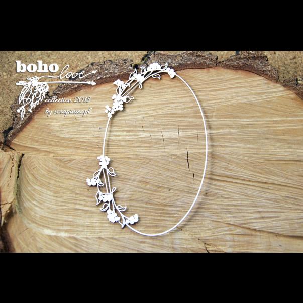 Izrezek, chipboard, Boho Love, ovalni okvir