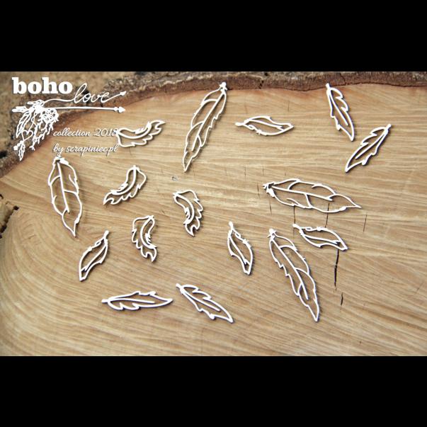 Izrezek, chipboard, Boho Love, perje