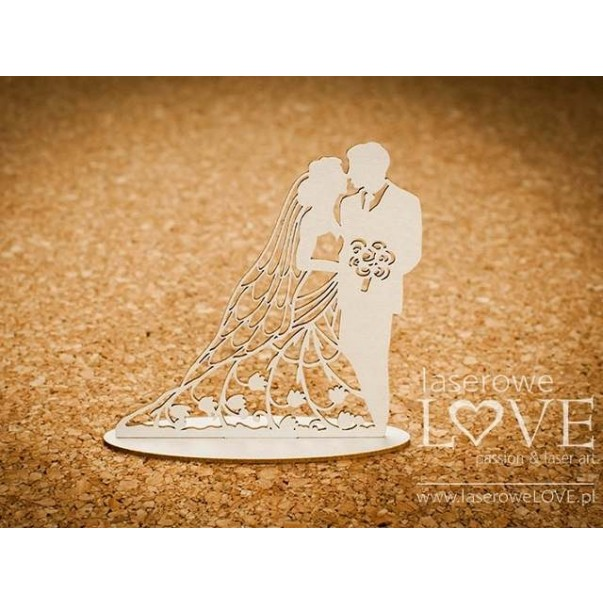 Izrezek, chipboard, First Love, 3D poročni par