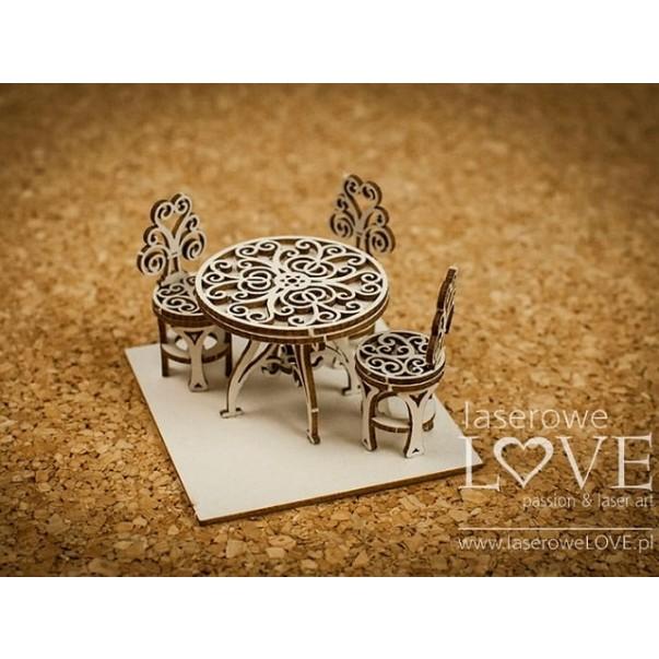 Izrezek, chipboard, Vintage Trip, 3D miza s stoli