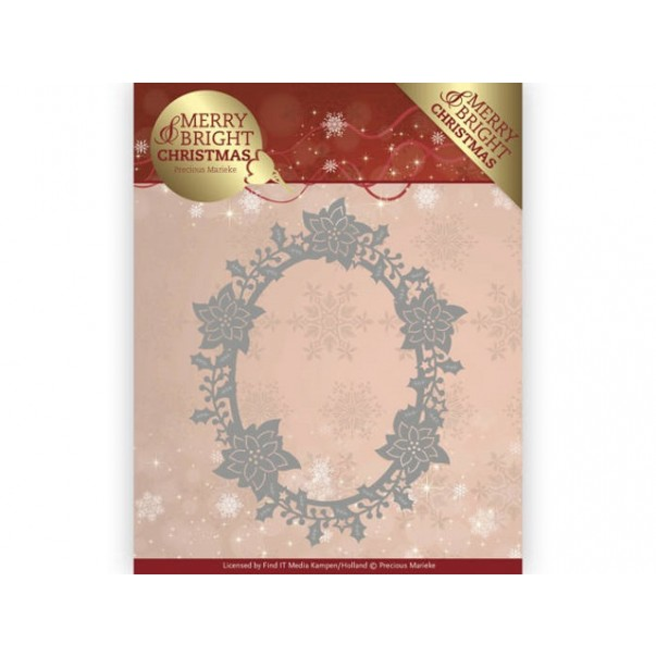 Rezalna šablona, Merry and Bright Christmas, Poinsettia Oval