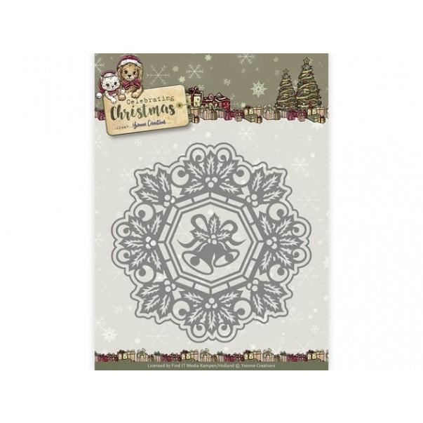 Rezalna šablona, Celebrating Christmas, Jingle bells circle frame