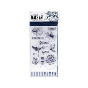 Set, rezalna šablona, štampiljka in plastična šablona, Flowers Say It All
