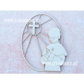 Izrezek,Chipboard,Lesena dekoracija, Obrazek, Ovalni vitraž, deček moli in križ