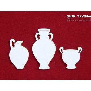 Izrezek, chipboard, Lesena dekoracija, Grška taverna, lonci