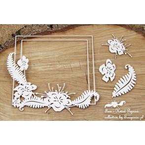 Izrezek, chipboard, Lesena dekoracija, Okvir, rože,