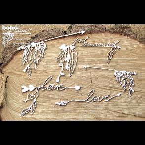 Izrezek, chipboard,Boho Love, ljubezenske puščice