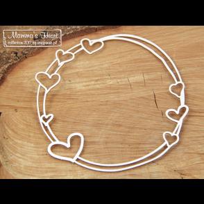 Chipboard, Mamma's heart, velik okrogel okvir z srčki
