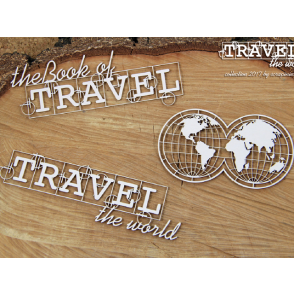 Chipboard, Travel The World, napis, globus