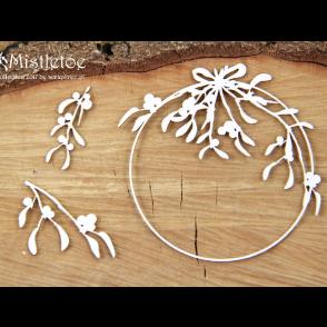 Chipboard, Mistletoe, Round Frame