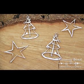 Chipboard, Christmas Sketch, smrekici in zvezdici