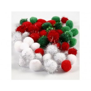 Pom-pomi, zeleni, rdeči, beli