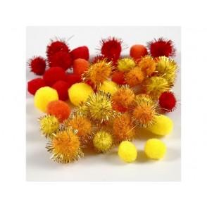 Pom-pomi, rdeči, oranžni, rumeni