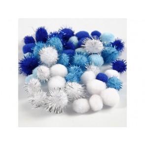 Pom-pomi, modri, beli
