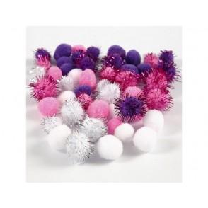 Pom-pomi, vijola, roza, beli