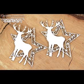 Chipboard, Cherish Christmas, zvezdi z jelenom