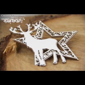Chipboard,  Cherish Christmas, zvezda z jelenom