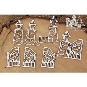 Izrezek, chipboard, Lesena dekoracija, Winter at the gates, vrata