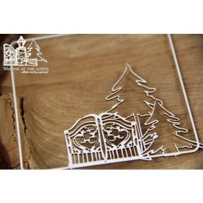 Izrezek, chipboard, Lesena dekoracija, Winter at the gates, okvir