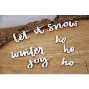 Izrezek, chipboard, Just chillin, napisi, Inscriptions let it snow