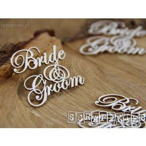 Chipboard, napis, Bride and Groom