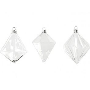 Steklena bunkica, novoletni okrasek, 3 različne oblike