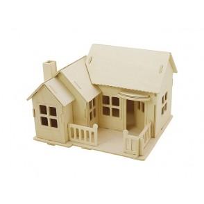 3D lesena konstrukcija, hiša s teraso