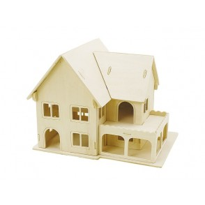 3D lesena konstrukcija, hiša z verando