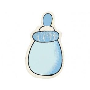 Lesena dekoracija, Baby steklenička, modra