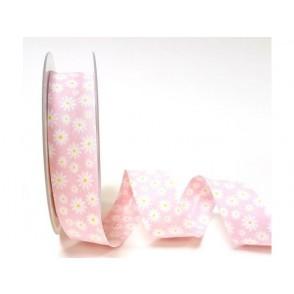 Dekorativni trak, bele marjetice na roza podlagi
