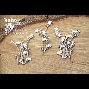 Izrezek, chipboard, Lesena dekoracija, Boho Love, rože, flowers