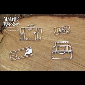 Izrezek, chipboard, Lesena dekoracija, Summer travelove, Travel bags