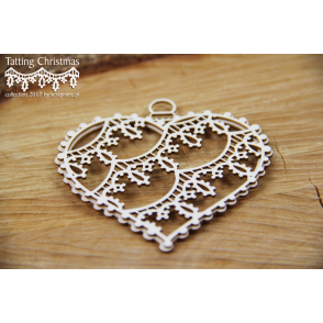 Izrezek, chipboard, Tatting Christmas, 3D Big Hearts