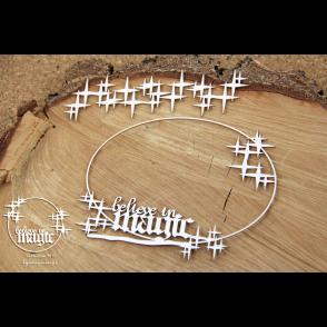 Izrezek, chipboard, Lesena dekoracija, Believe in MAGIC - okvir