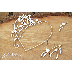 Izrezek, chipboard, Mistletoe, Heart Frame