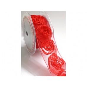 Dekorativni trak iz organze, vrtnice, rdeč