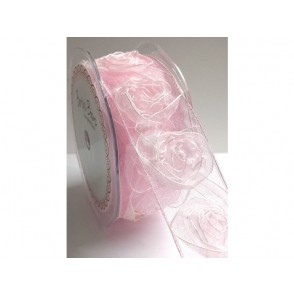 Dekorativni trak iz organze, vrtnice, roza
