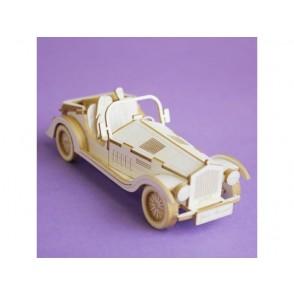 Izrezki, 3D, retro avto in poročni par