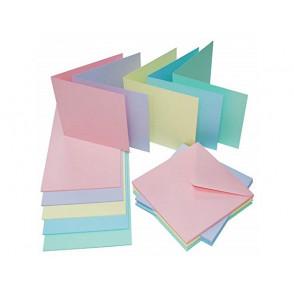 "Set osnov in kuvert, 5"" x 5"", pastelne barve"