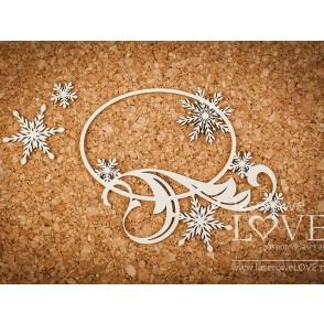 Izrezek, chipboard, Shabby Winter, okvir s snežinkami