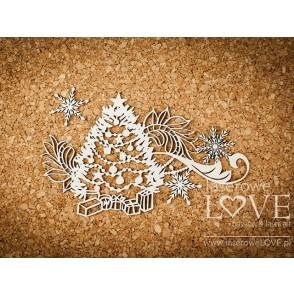 Izrezek, chipboard, Shabby Winter, božično drevo z ornamentom