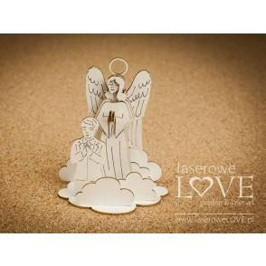 Izrezek, chipboard, White and Innocent, 3D angel varuh z dečkom
