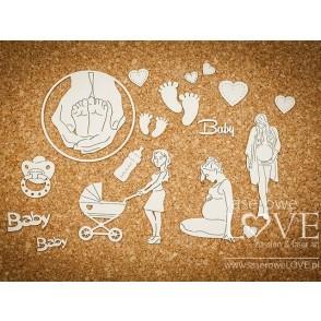 Izrezek, chipboard, Baby Boom, nosečka s pripomočki za dojenčka
