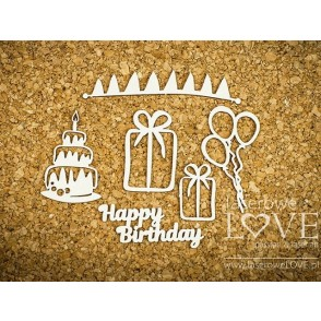 Izrezek, chipboard, Dino Land, Happy Birthday
